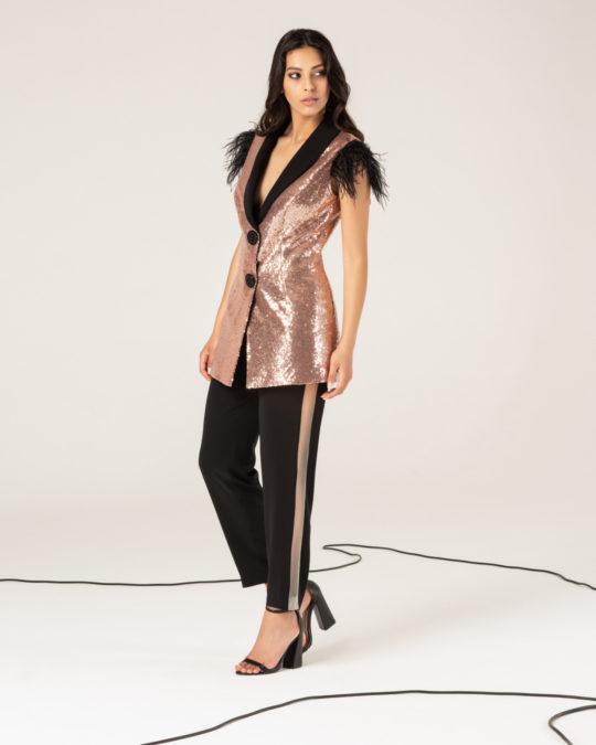 Giacca lunga paillettes - Pantalone con trasparenza